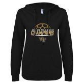 ENZA Ladies Black V Notch Raw Edge Fleece Hoodie-2017 Mens Soccer Champions