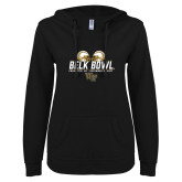 ENZA Ladies Black V Notch Raw Edge Fleece Hoodie-Belk Bowl - Helmets Design