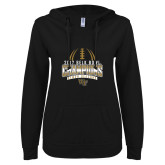 ENZA Ladies Black V Notch Raw Edge Fleece Hoodie-2017 Belk Bowl Champions - Football Stacked