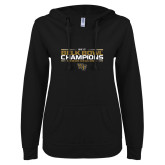 ENZA Ladies Black V Notch Raw Edge Fleece Hoodie-2017 Belk Bowl Champions - Stacked Bars