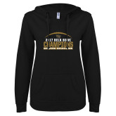 ENZA Ladies Black V Notch Raw Edge Fleece Hoodie-2017 Belk Bowl Champions - Football Arched