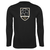 Performance Black Longsleeve Shirt-Soccer Shield Design