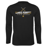 Performance Black Longsleeve Shirt-Stacked Field Hockey Design
