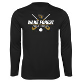 Performance Black Longsleeve Shirt-Field Hockey Design