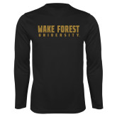 Performance Black Longsleeve Shirt-Wake Forest University