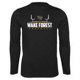 Performance Black Longsleeve Shirt-Football Field Design