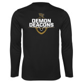 Performance Black Longsleeve Shirt-Stacked Football Design