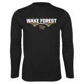 Performance Black Longsleeve Shirt-Football Wing Design
