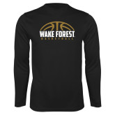 Performance Black Longsleeve Shirt-Arched Basketball Design