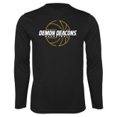 Performance Black Longsleeve Shirt-Basketball Outline Design