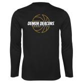 Syntrel Performance Black Longsleeve Shirt-Basketball Outline Design