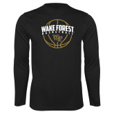 Performance Black Longsleeve Shirt-Arched Wake Forest in Basketball