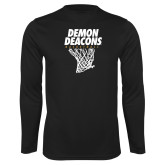 Performance Black Longsleeve Shirt-Basketball Net Design