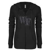 ENZA Ladies Black Light Weight Fleece Full Zip Hoodie-WF Graphite Soft Glitter