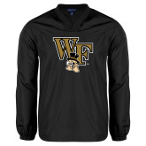 V Neck Black Raglan Windshirt-WF w/ Deacon Head