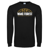 Black Long Sleeve TShirt-Arched Basketball Design