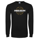 Black Long Sleeve TShirt-Basketball Outline Design