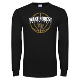 Black Long Sleeve TShirt-Arched Wake Forest in Basketball