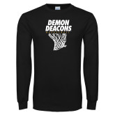 Black Long Sleeve TShirt-Basketball Net Design