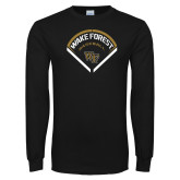 Black Long Sleeve TShirt-Baseball Plate Design