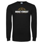 Black Long Sleeve TShirt-Soccer Outline Design