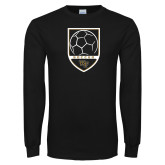 Black Long Sleeve TShirt-Soccer Shield Design
