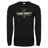 Black Long Sleeve TShirt-Stacked Field Hockey Design