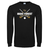 Black Long Sleeve TShirt-Field Hockey Design