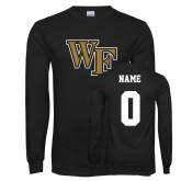 Black Long Sleeve TShirt-WF, Custom Tee w/ Name and #