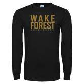 Black Long Sleeve TShirt-Wake Forest University Stacked