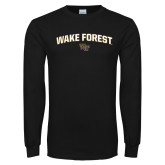Black Long Sleeve TShirt-Arched Wake Forest w/ WF
