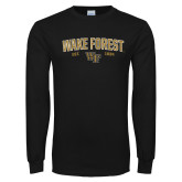 Black Long Sleeve TShirt-Arched Wake Forest Est. 1834