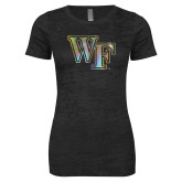 Next Level Ladies Junior Fit Black Burnout Tee-WF Foil