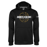 Under Armour Black Performance Sweats Team Hoodie-Basketball Outline Design