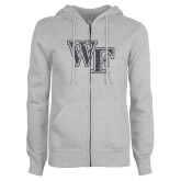 ENZA Ladies Grey Fleece Full Zip Hoodie-WF Graphite Soft Glitter