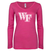 ENZA Ladies Hot Pink Long Sleeve V Neck Tee-WF