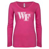 ENZA Ladies Hot Pink Long Sleeve V Neck Tee-WF