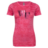 Next Level Ladies Junior Fit Fuchsia Burnout Tee-WF Foil
