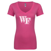Next Level Ladies Junior Fit Deep V Pink Tee-WF
