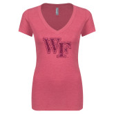 Next Level Ladies Vintage Pink Tri Blend V-Neck Tee-WF Hot Pink Glitter