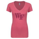 Next Level Ladies Vintage Pink Tri Blend V-Neck Tee-WF Hot Pink Glitter