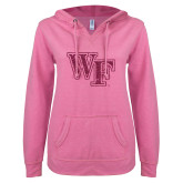 ENZA Ladies Hot Pink V Notch Raw Edge Fleece Hoodie-WF Hot Pink Glitter
