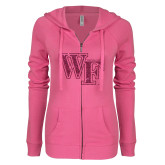 ENZA Ladies Hot Pink Light Weight Fleece Full Zip Hoodie-WF Hot Pink Glitter