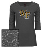 Ladies Charcoal Heather Tri Blend Lace 3/4 Sleeve Tee-WF