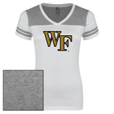 Ladies White/Heathered Nickel Juniors Varsity V Neck Tee-WF