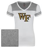 Ladies White/Heathered Nickel Juniors Varsity V Neck Tee-WF
