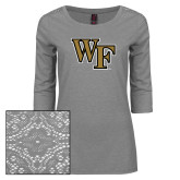 Ladies Grey Heather Tri Blend Lace 3/4 Sleeve Tee-WF