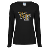 Ladies Black Long Sleeve V Neck T Shirt-WF