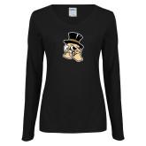 Ladies Black Long Sleeve V Neck T Shirt-Deacon Head