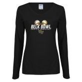 Ladies Black Long Sleeve V Neck Tee-Belk Bowl - Helmets Design